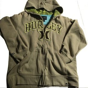 Hurley olive green yellow black zipup hoodie large